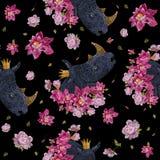 Borduurwerk kleurrijk bloemen naadloos patroon met rinoceros Stock Afbeeldingen