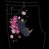 Borduurwerk kleurrijk bloemenpatroon met exotische rinoceros voor je Royalty-vrije Stock Afbeelding