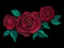 Borduurwerk kleurrijk bloemenpatroon met vereenvoudigde rozen Royalty-vrije Stock Afbeelding