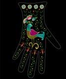 Borduurwerk kleurrijk etnisch bloemenpatroon op handschoenontwerp Royalty-vrije Stock Fotografie