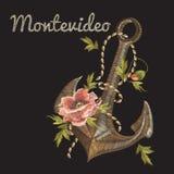 Borduurwerk kleurrijk rozen en ankerpatroon met Uruguay Montev Stock Afbeeldingen