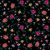 Borduurwerk kleurrijk vereenvoudigd etnisch bloemen naadloos patroon Stock Afbeelding