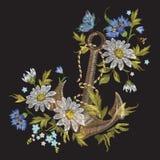 Borduurwerk marien patroon met bloemen en anker Stock Foto