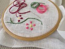 Borduurwerk met bloemrank Stock Foto's