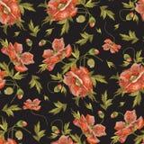 Borduurwerk naadloos patroon met rode papaverbloemen Stock Afbeelding