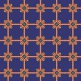 Borduurwerk naadloos patroon op een donkerblauwe achtergrond Stock Afbeeldingen