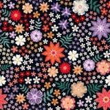 Borduurwerk naadloos patroon van kleurrijke bloemen - rode, gele, witte en violette bloesem Veelkleurig vectorontwerp stock illustratie