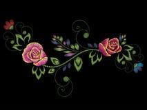 Borduurwerk Rose Ornament Stock Fotografie