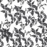 Borduurwerk, zwarte bladeren op witte achtergrond Vector vector illustratie