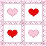 Borduurwerkachtergrond met harten voor de Daggroeten van Valentine in pixel-Kunst stijl stock illustratie