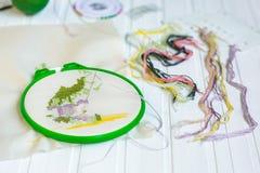 Borduurwerkhoepel met lege stof, gekleurde naaiende draden en diverse naaiende knopen stock fotografie