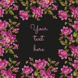 Borduurwerkkader voor tekst met kleurrijk etnisch bloemen naadloos p Royalty-vrije Stock Fotografie