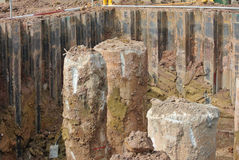 Bore pile and excavated pile Royalty Free Stock Image