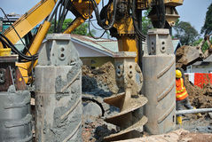 Bore pile rig auger at the construction site Stock Photography