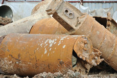 Bore pile rig auger at the construction site Stock Photos