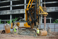 Bore Pile Rig at construction site Stock Images