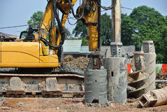 Bore pile rig machine in the construction site Stock Photography