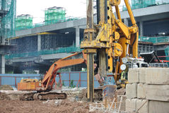 Bore pile rig machine in the construction site. MALACCA, MALAYSIA – MARCH 18, 2015: Bore pile rig machine at the construction site in Malacca, Malaysia on stock photo