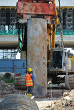 Bore pile steel casing installed at the construction site Royalty Free Stock Photo