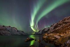 Borealis αυγής πέρα από Tromso Στοκ Εικόνες