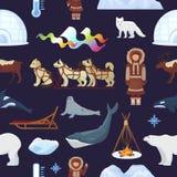 Borealis Норвегия ледовитого вектора северные и розвальни осиплой собаки sledding к yurta в снежном комплекте поляриса иллюстраци Стоковая Фотография