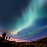Βόρεια φω'τα (αυγή Borealis) Στοκ Εικόνα