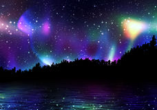 Borealis variopinti dell'aurora Fotografia Stock Libera da Diritti
