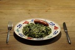 Borecole с сосиской Стоковые Фотографии RF