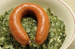 Borecole с сосиской стоковое изображение rf
