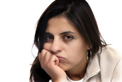 Bored. Young woman portrait in a white background Stock Photography