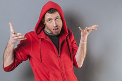 Free Bored 40s Man Expressing Careless Responsibility Stock Images - 64370574