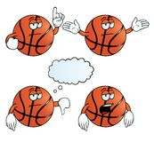 Bored basketball set. Collection of bored basketballs with various gestures Stock Images