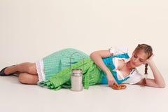 Bored Bavarian girl Stock Photo