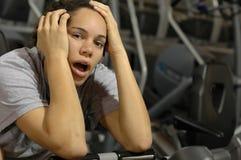 Bored bij de gymnastiek Stock Fotografie