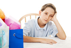 Bored Birthday Boy Royalty Free Stock Images