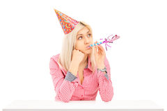 Bored birthday female posing royalty free stock photography
