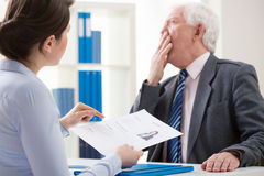 Bored boss during job interview Stock Images