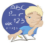 Bored boy. Cartoon illustration of bored boy during lesson. welcomeback to school Stock Images