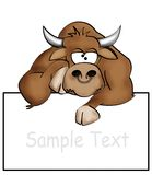 Bored bull. Illustration of a bored bull with a blank sign royalty free illustration