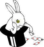 Bored bunny in magic hat. Bored white rabbit playing cards in magician hat. Hand drawn Vector image on China/Indian Ink Style (Nankeen stock illustration
