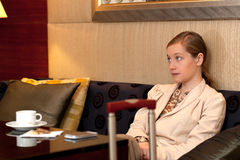 Bored business woman lounge Stock Photo