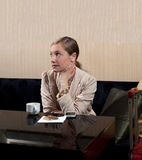 Bored business woman lounge Stock Images