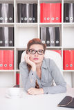 Bored business woman. Overwork concept. Bored business woman working in office. Overwork concept Stock Photography