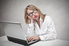 Bored business woman Royalty Free Stock Photos