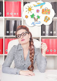 Bored business woman working in office. Overwork concept Royalty Free Stock Photo