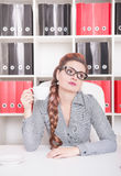Bored business woman working in office. Overwork concept Royalty Free Stock Photography