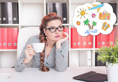 Bored business woman working. Overwork concept. Bored business woman working in office. Overwork concept Royalty Free Stock Photos