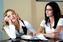 Bored business women Royalty Free Stock Photography