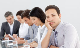 Bored businessman in a meeting Royalty Free Stock Image