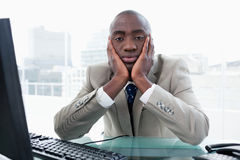 Bored businessman posing Stock Photography